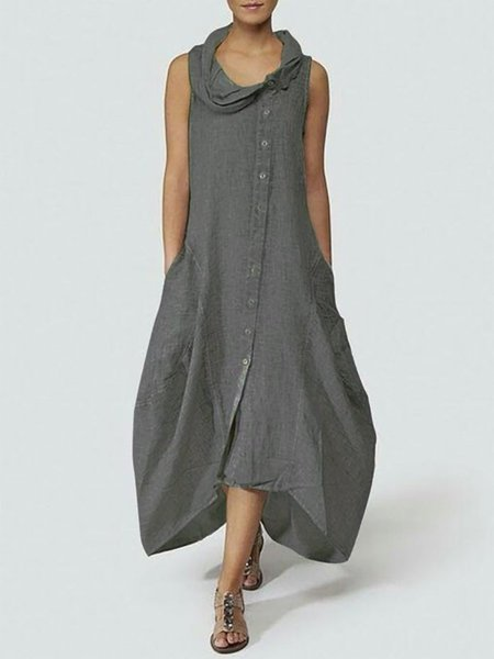 Cowl Neck Plus Size Buttoned Pockets Solid Cocoon Sleeveless Maxi Dress