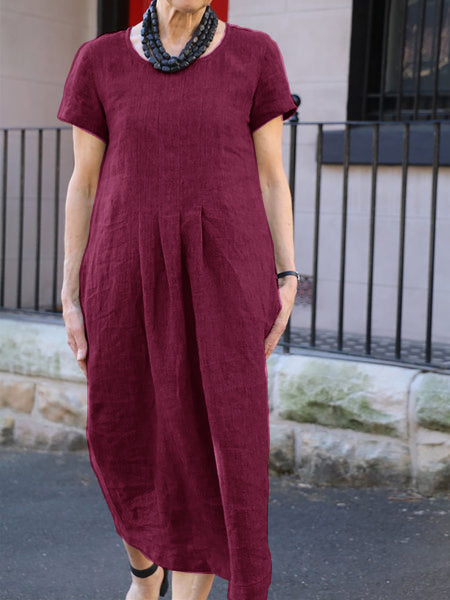 Women Shift Daytime Pockets Solid Dresses