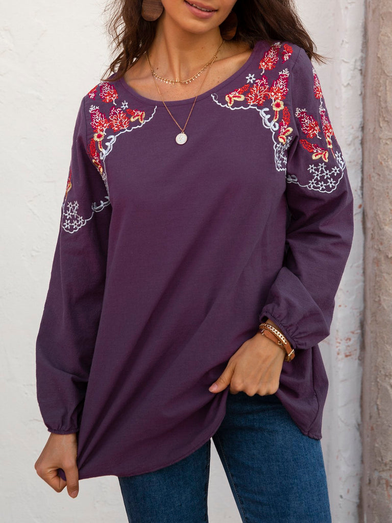 Plain Crew Neck Casual Long Sleeve Shirts & Tops