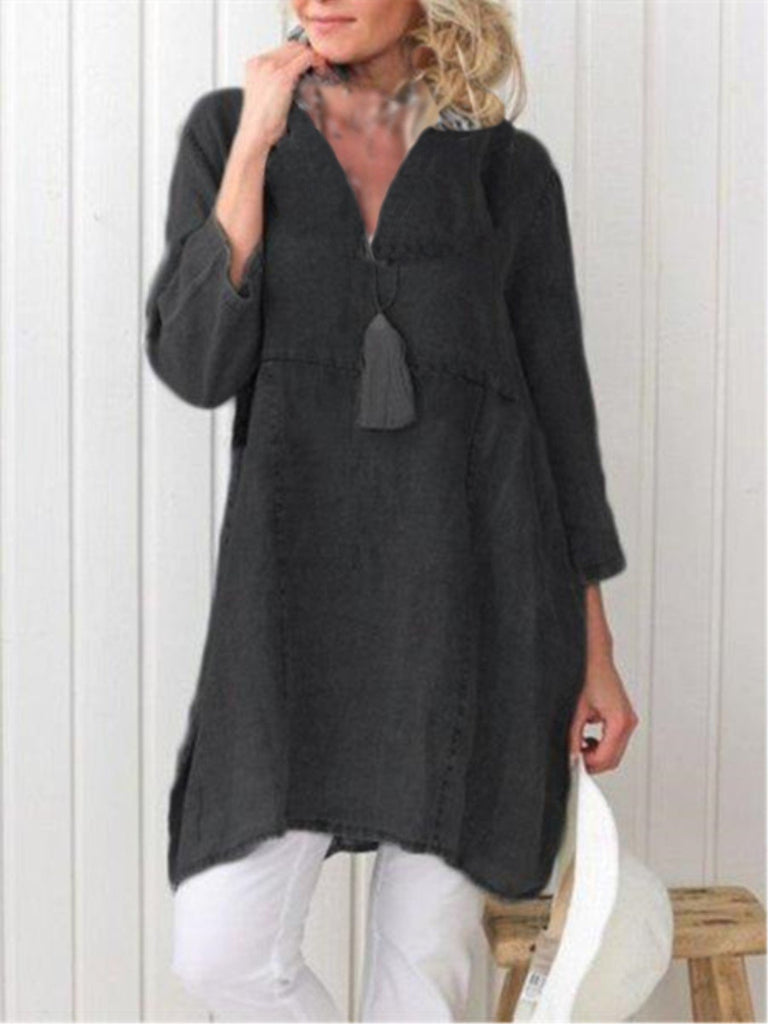 Casual Plain V-neck Long Sleeve Pockets Plus Size Dress