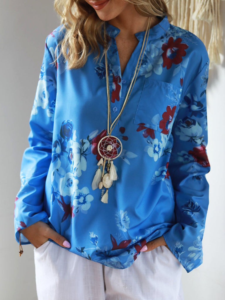 Long Sleeve V Neck Floral Printed Casual Blouse