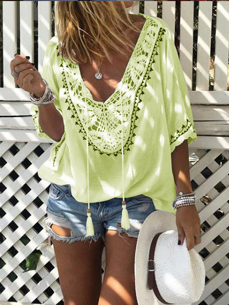 V Neck Hollowed Half Sleeve Blouses