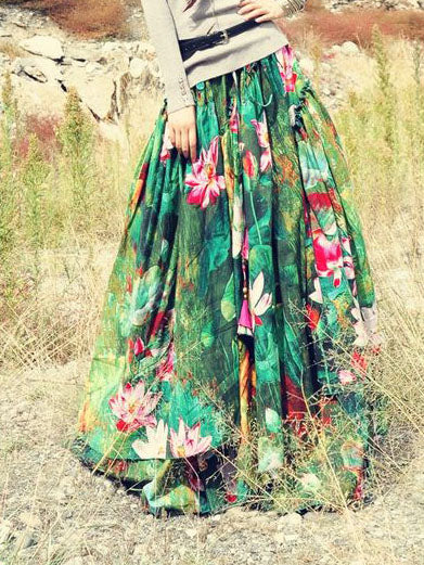 Color Vintage Cotton-Blend Floral Skirts