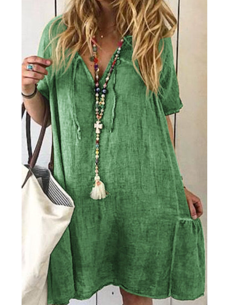 V Neck Women Dresses Holiday Cotton Solid Dresses