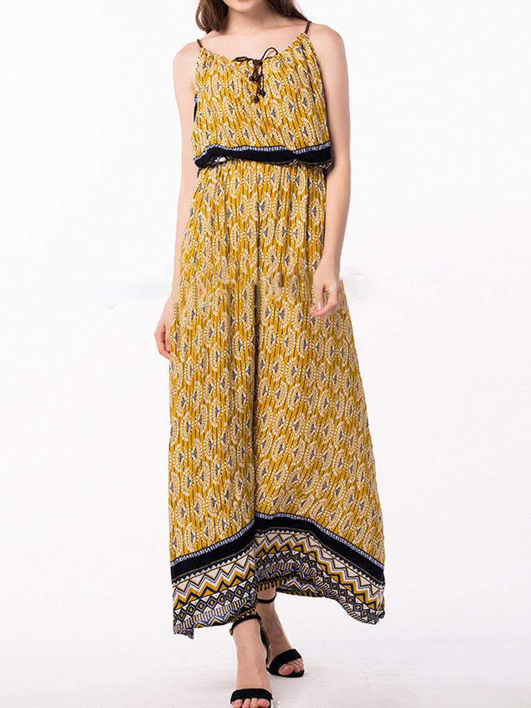 Annychloe Boho Yellow Floral-Print Spaghetti Dress