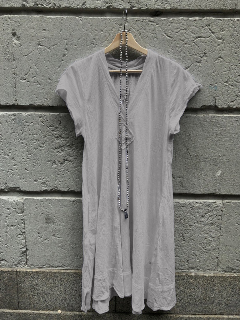 V Neck Solid Short Sleeve Dresses