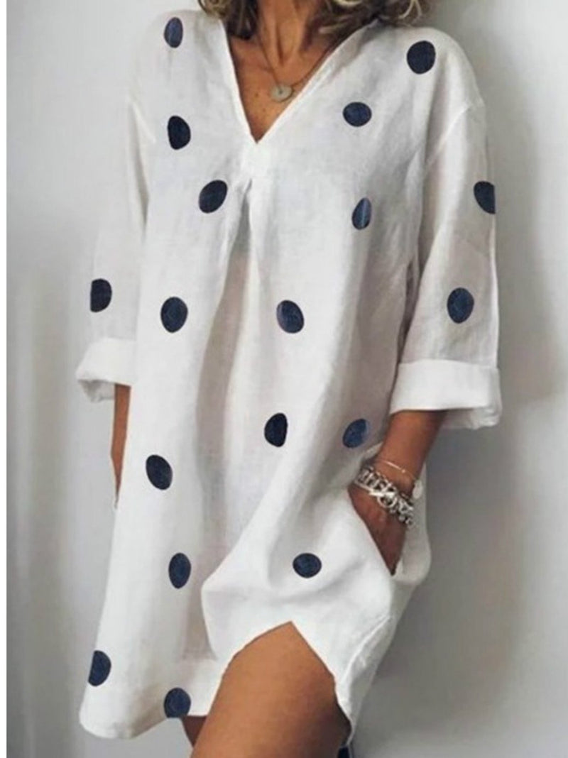 Split v-neck polka dot dress