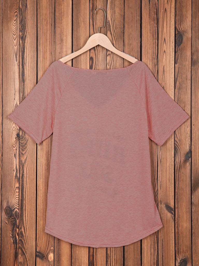 Gray Short Sleeve Cotton-Blend V Neck Printed Shirts & Tops