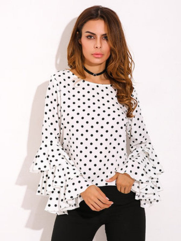 Casual Women Polka Dot Trumpet Sleeve O-Neck Blouse