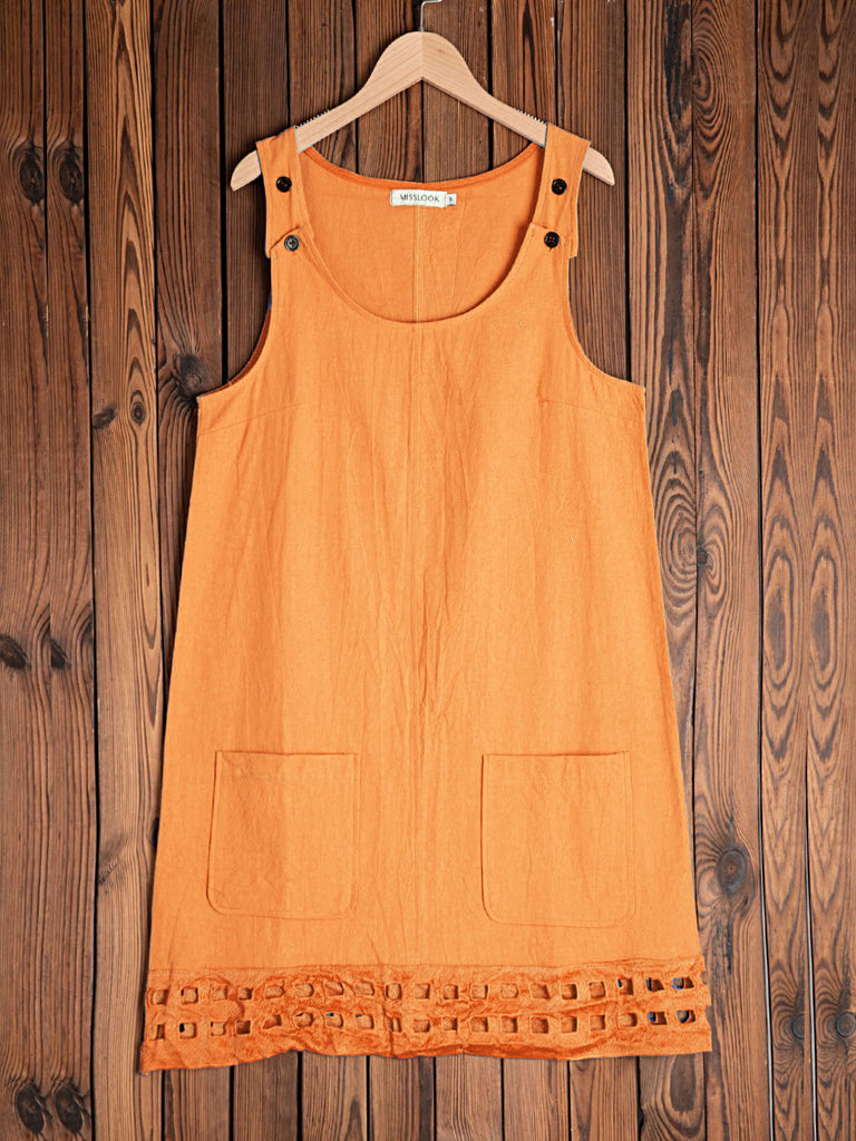 Cotton-Blend Crew Neck Casual Dresses