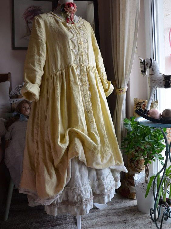 Yellow Crew Neck Cotton-Blend Vintage Plain Dresses