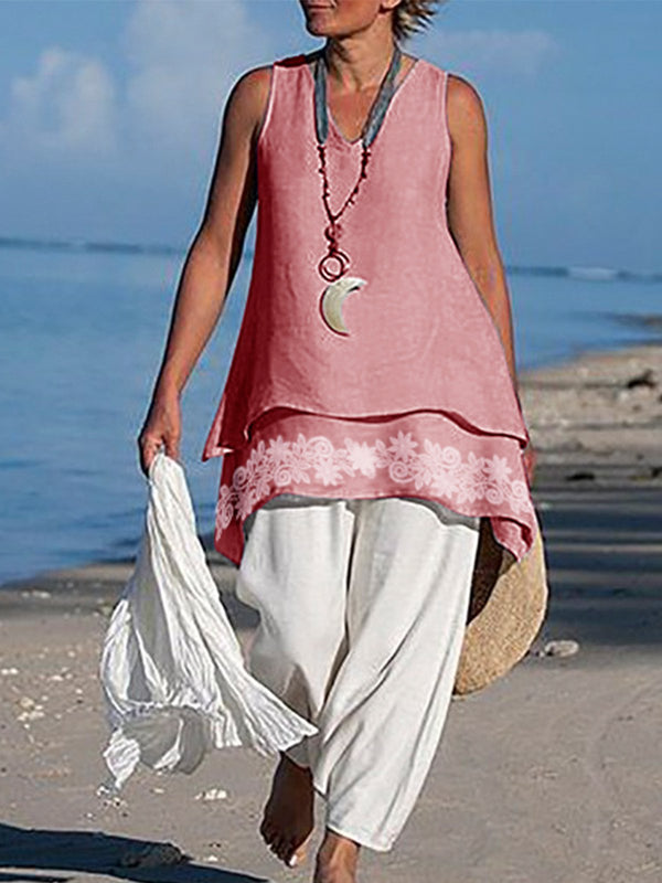 Asymmetrical Sleeveless Linen Shirts & Tops