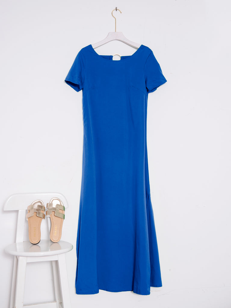 Casual Short Sleeve Round Neck Plus Size Maxi Dress