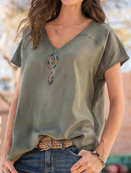 Casual Cotton-Blend Printed Shirts & Tops