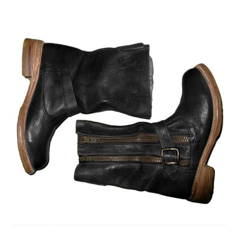 Annychloe Women Vintage Mid Calf Zipper Artificial Leather Casual Chic Boots With Buckle