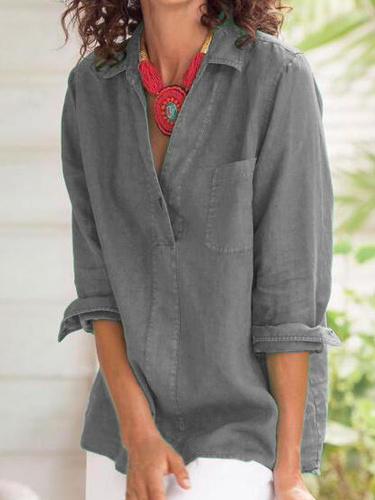 Casual 3/4 Sleeve Buttoned Shirts & Tops