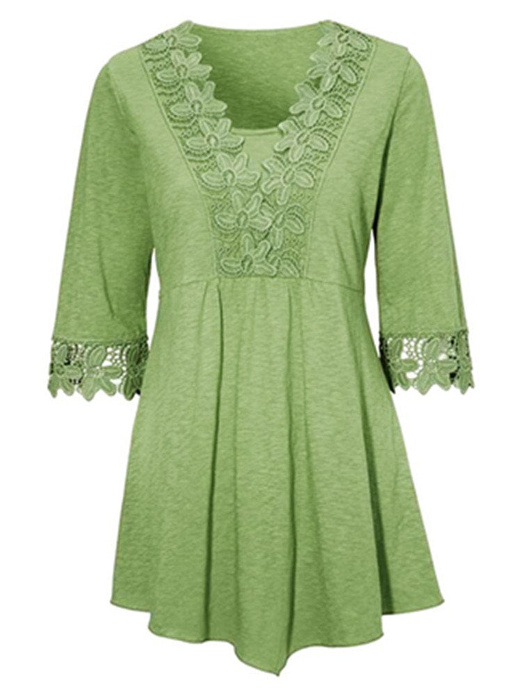 Lace Patchwork V-neck Three Quarters Sleeve Women Blouse