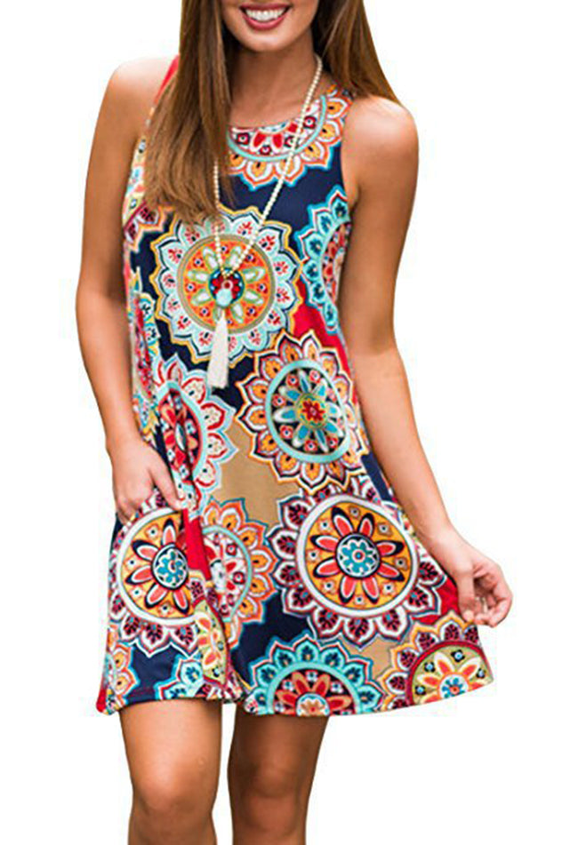 Annychloe Women Casual Printed U-Neck Sleeveless Dresses