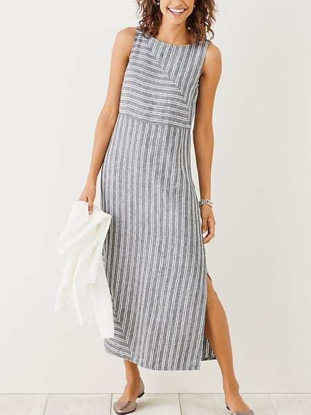 Crew Neck Women Slit Striped Dress