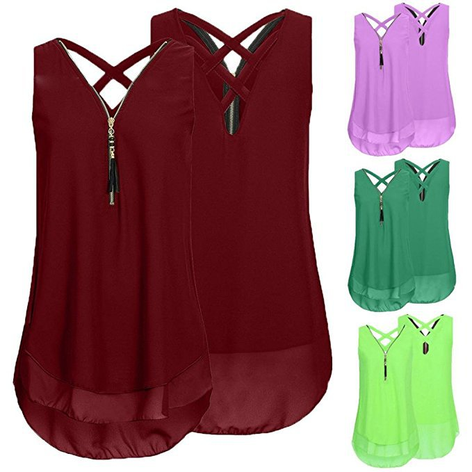 Women Solid Zipper V-Neck Sleeveless Tank Top Vest