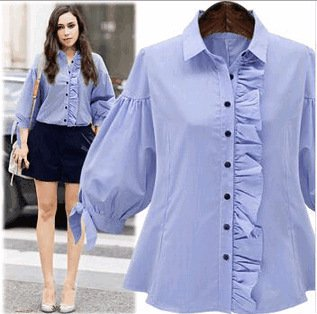 Women Solid Three Quater Sleeve Button Down Ruffle Patchwork T-Shirt