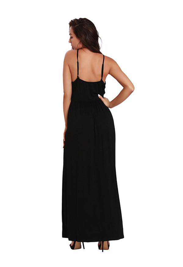 Annychloe Sexy V-Neck Sleeveless Long Dress