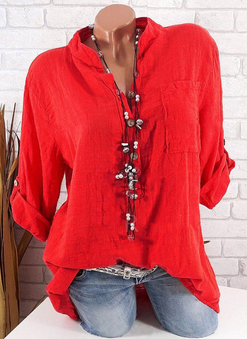 Solid Color V-neck Long Sleeve Cotton Shirts