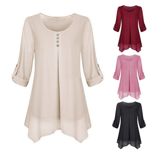 Women O-Neck Long Sleeve Irregular Hem Shirts