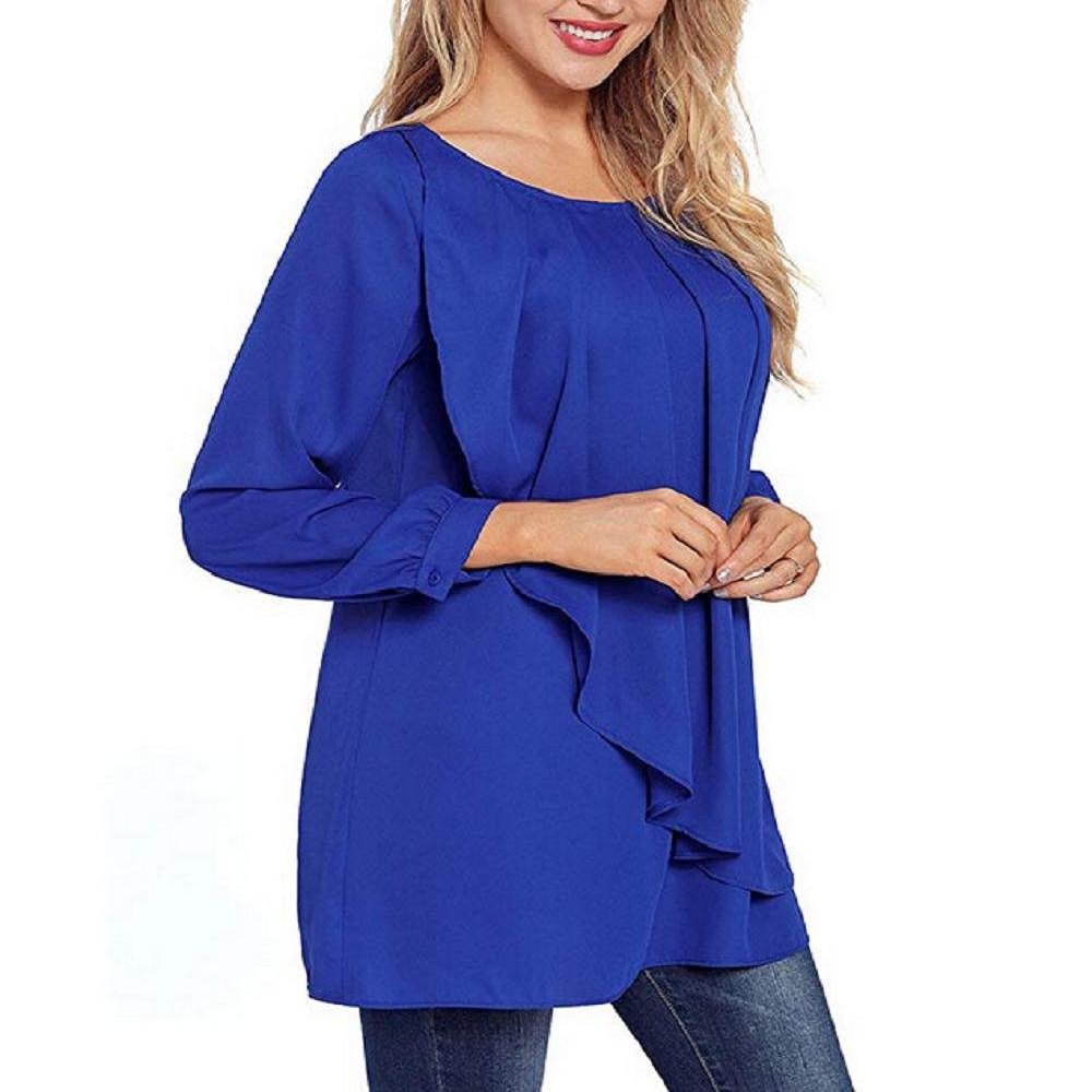 Long Sleeve Ruffle Patchwork Pullover Top