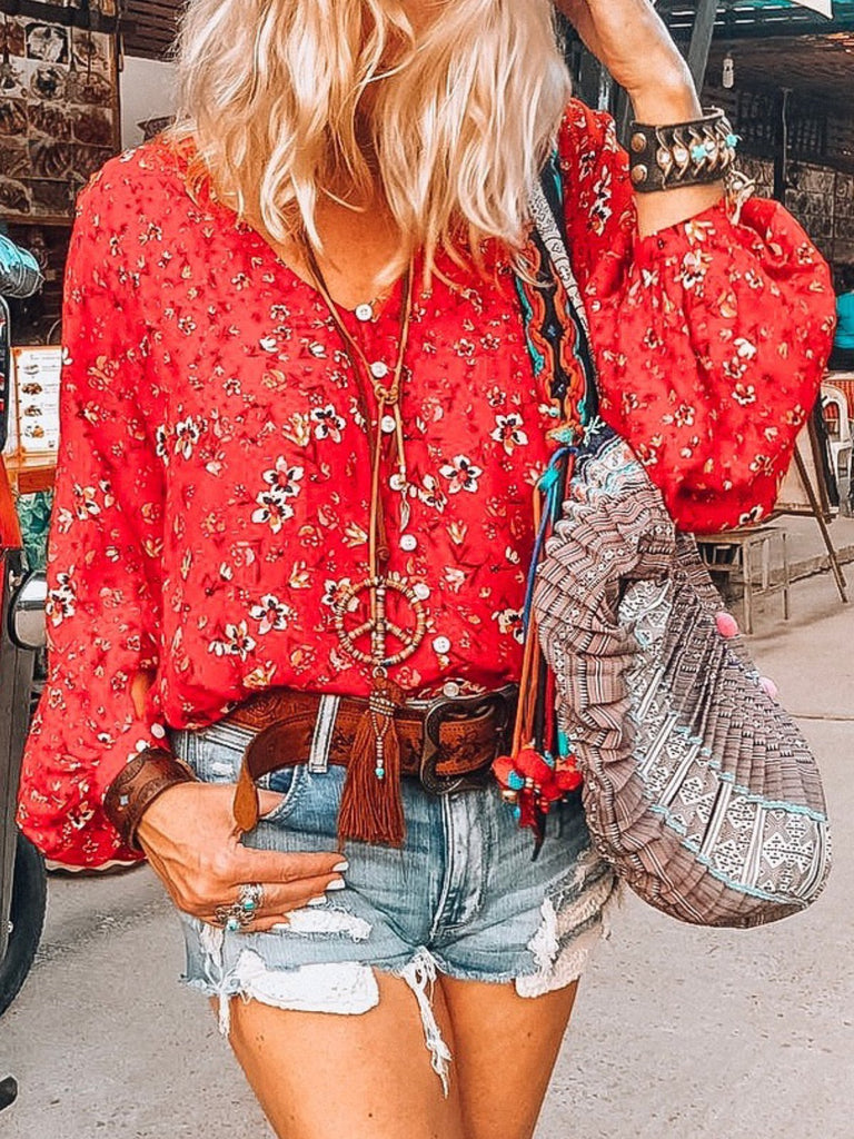 Balloon Sleeve Floral-Print Shirts & Tops