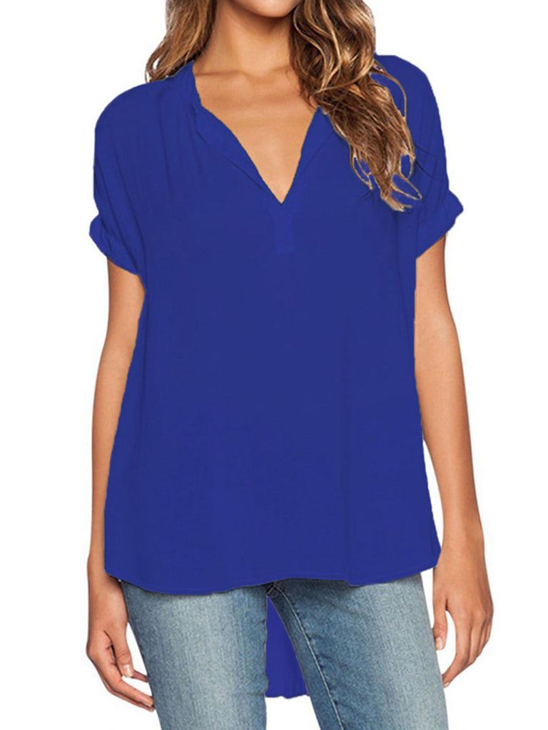 Short Sleeve Chiffon Casual V Neck  Solid T-Shirt