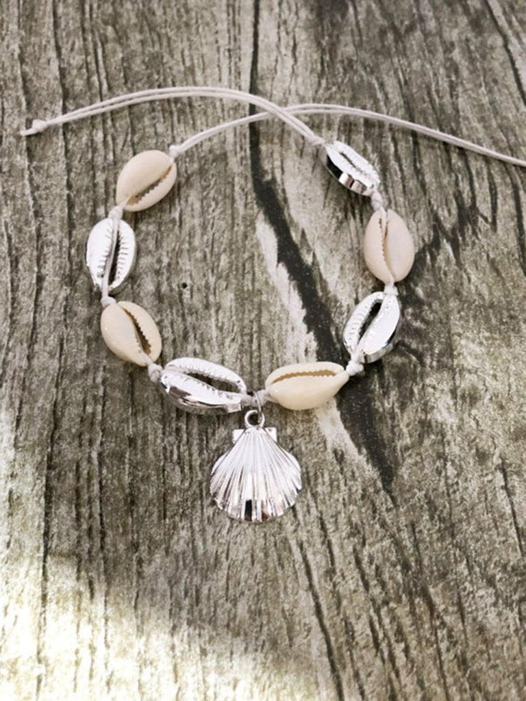 Seashell Beach Beaded Pendant Anklet