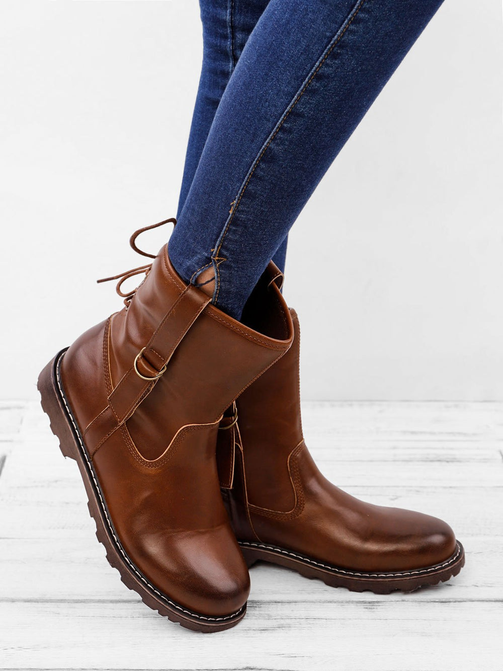 Annychloe Women's Leather Martin Boots for Women's Vintage Cowboy Shoes