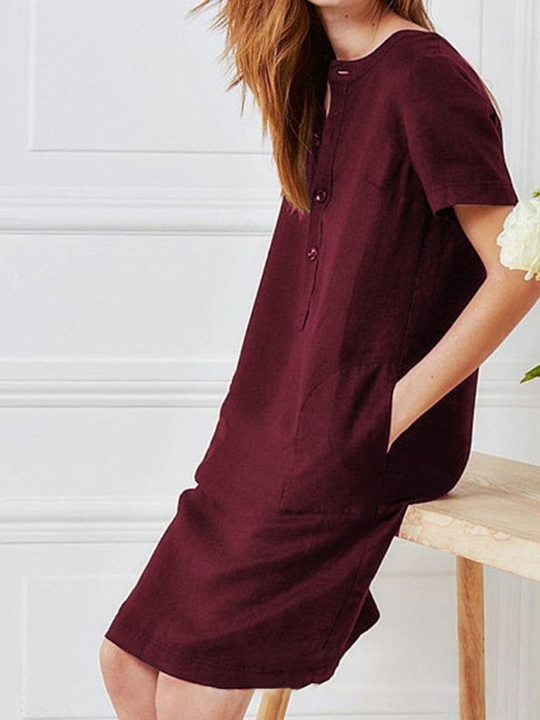 Women Dresses Shift Daytime Pockets Mini Dress