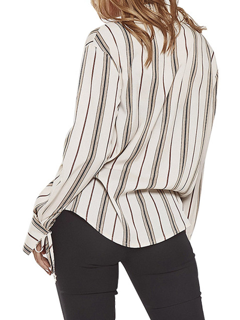 Annychloe Striped V Neck  Long Sleeve Blouse