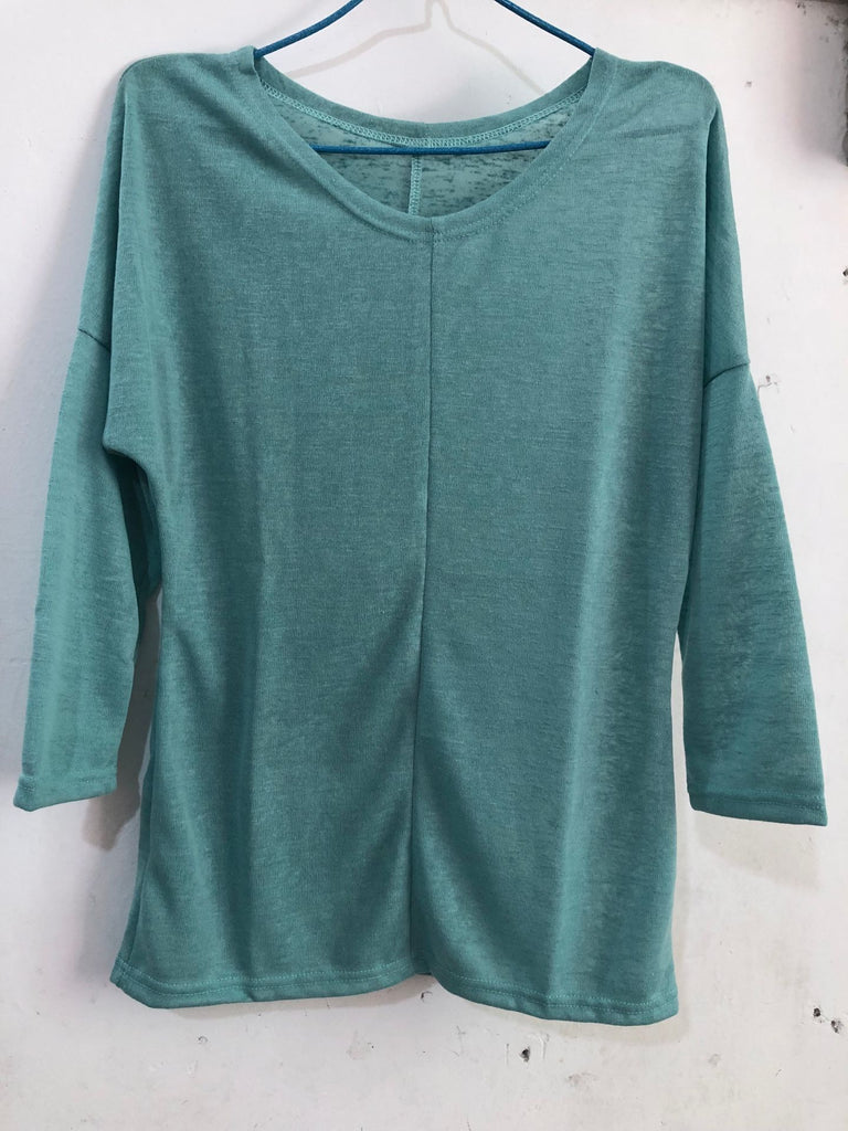 Plus Size Casual Knitted Long Sleeve V neck Solid Tops