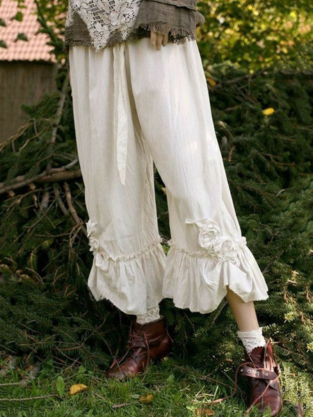 Solid Casual Vintage Pants