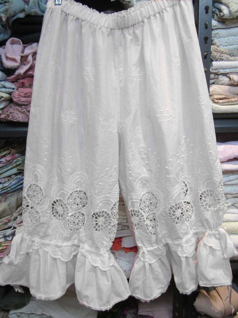Women Patchwork Lace Pants