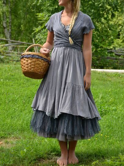 Blue Cotton-Blend Vintage Paneled Dresses