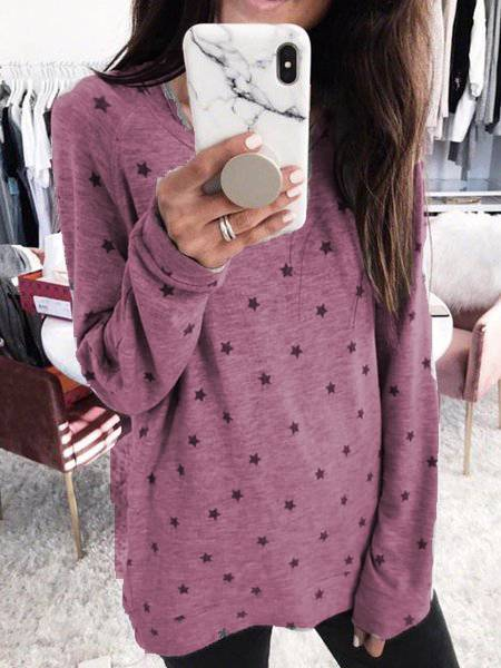 Gray Long Sleeve Polka Dots Cotton Shirts & Tops