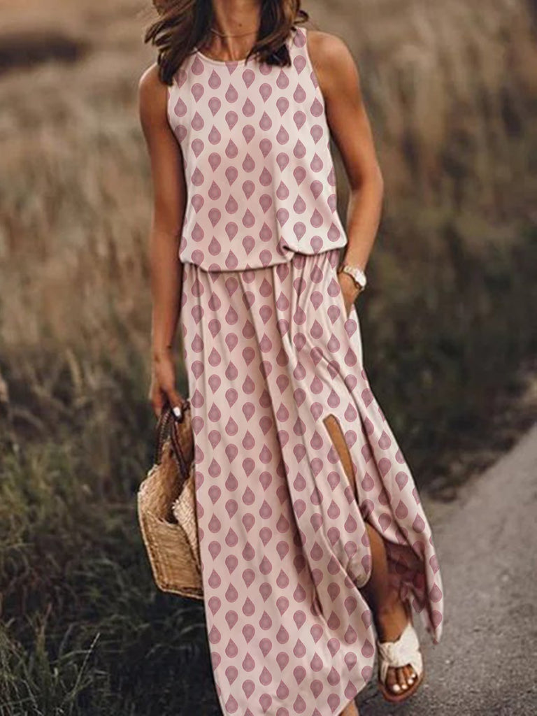 Women Pockets Slit Printed Maxi Dresses