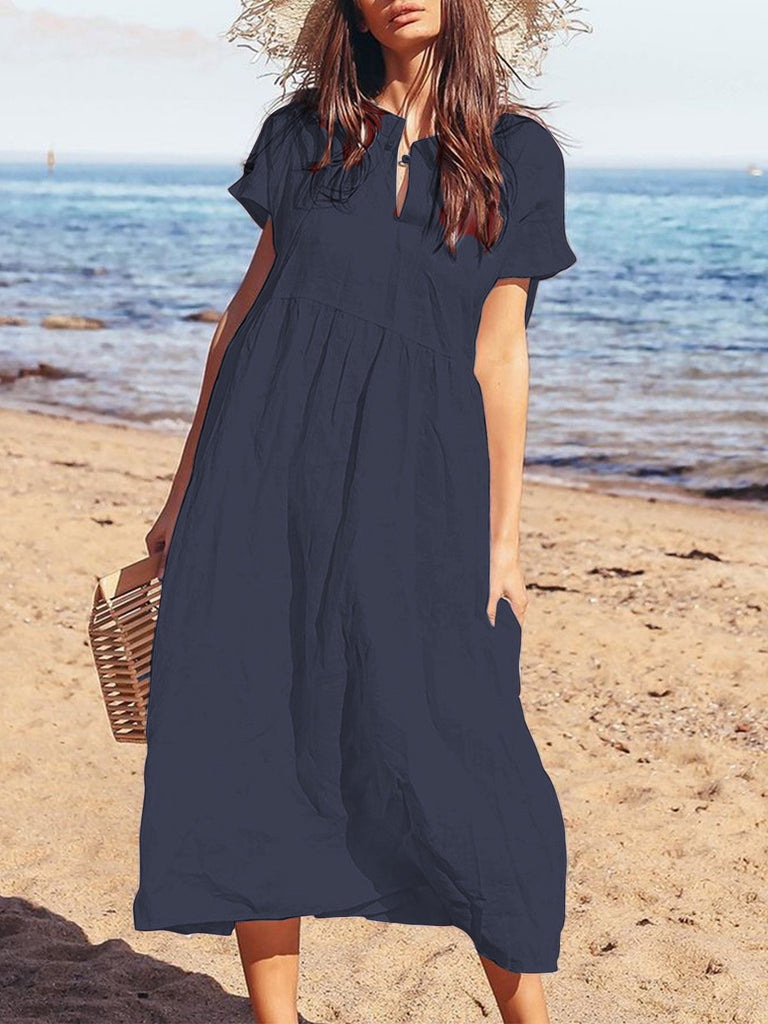 Plus Size Casual Short Sleeve Solid Maxi Dresses