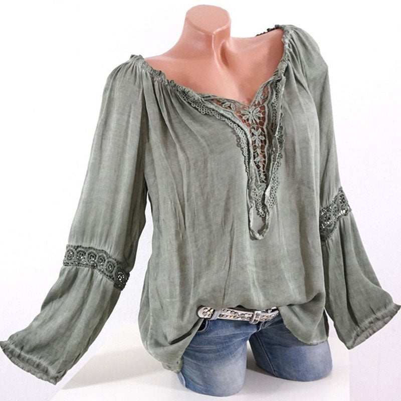 Plus Size Long Sleeve Loose Patchwork Blouse Shirt