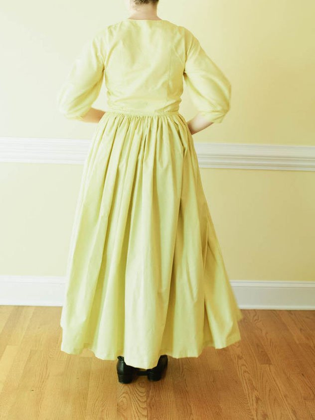 Yellow Gathered Square Neck Casual Dresses