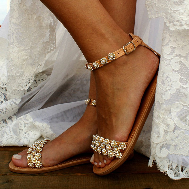 Brown Faux Leather Summer Imitation Pearl Sandals