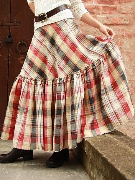 Red Checkered/plaid Casual Skirts