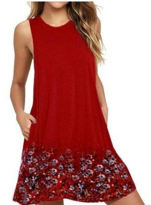 Floral Print Sleeveless Casual Comfy Dress