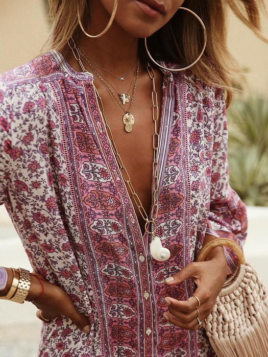 Annychloe Summer Bohemian Style V Neck Tribal Printed Dress