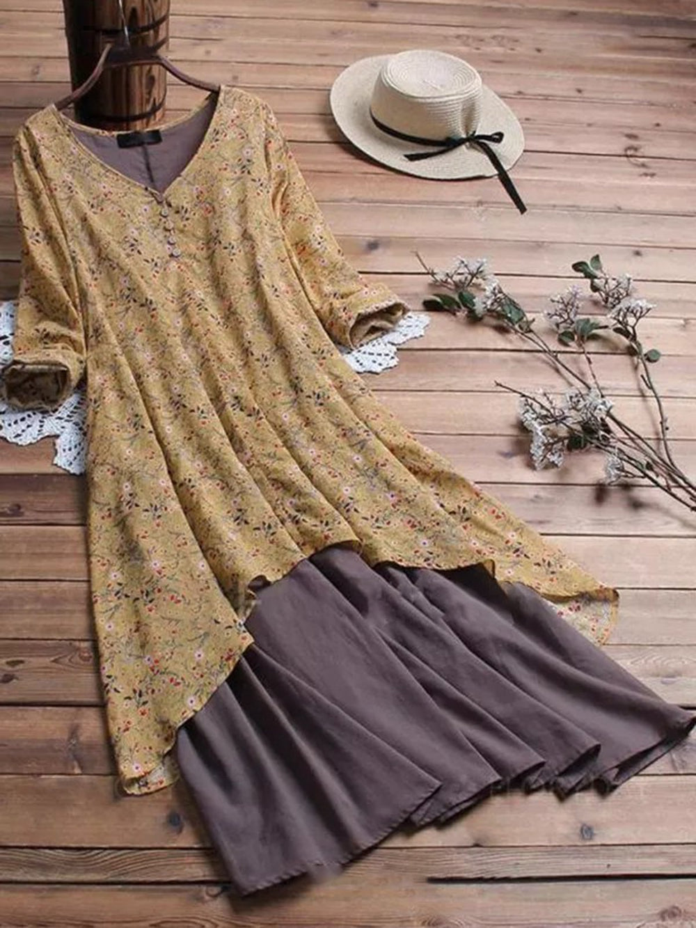 V Neck Women Dresses A-Line Going Out Boho Cotton Dresses