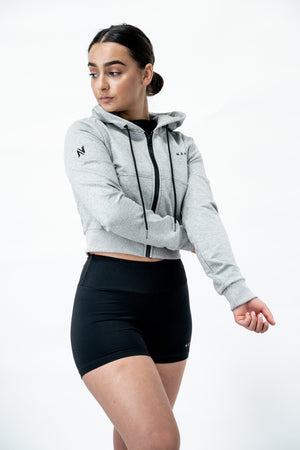 Signature Crop Zip Up Hoodie - Grey